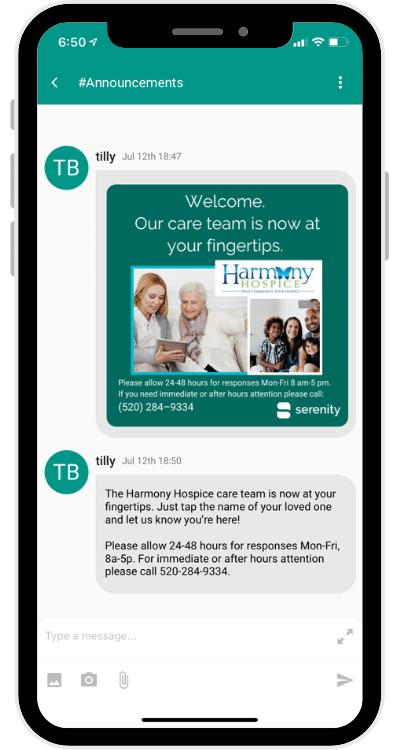 Screenshot FAMILY Harmony Hospice Welcome